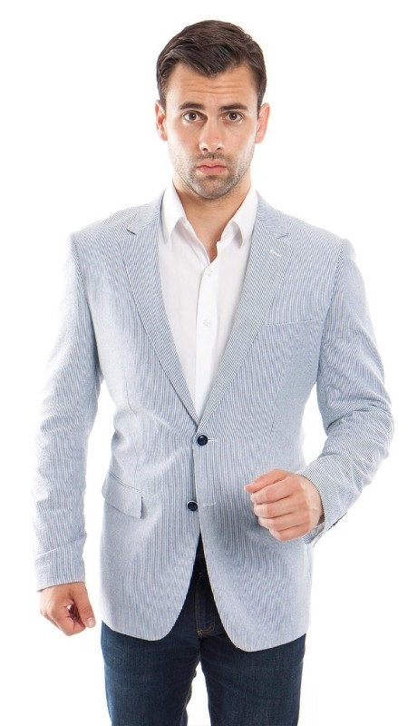 MJ214H-02 ( 1pc Mens Two Button Notch Lapel Slim Fit Pin Stripe Seersucker Jacket With One Chest Pocket )