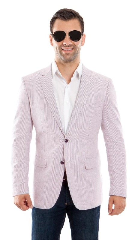 MJ214H-03 ( 1pc Mens Two Button Notch Lapel Slim Fit Pin Stripe Seersucker Jacket With One Chest Pocket )