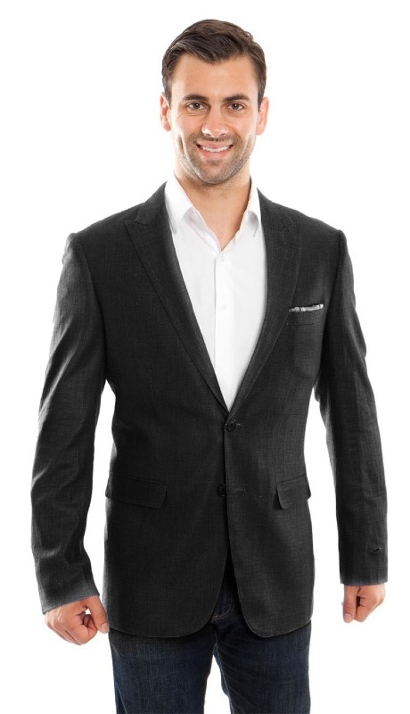 MJ215S-01 ( 1pc Mens Two Button Peak Lapel Slim Fit Solid Jacket With One Chest Pocket )