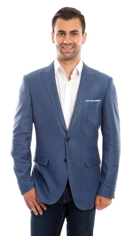 MJ215S-02 ( 1pc Mens Two Button Peak Lapel Slim Fit Solid Jacket With One Chest Pocket )
