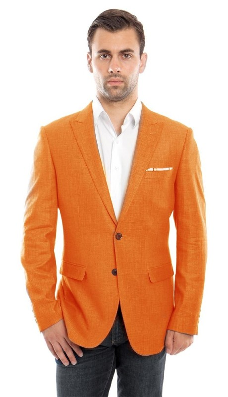 MJ215S-03 ( 1pc Mens Two Button Peak Lapel Solid Jacket With One Chest Pocket )