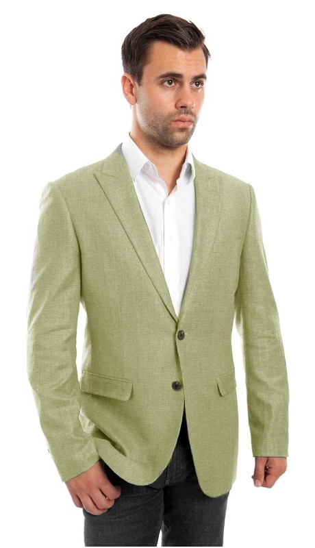 MJ215S-04 ( 1pc Mens Two Button Peak Lapel Solid Jacket With One Chest Pocket )