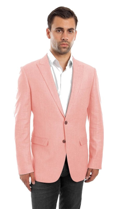 MJ215S-05 ( 1pc Mens Two Button Peak Lapel Slim Fit Solid Jacket With One Chest Pocket )