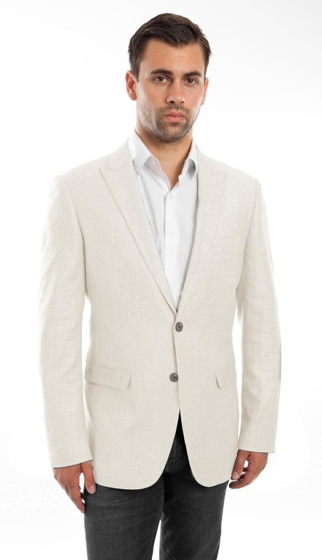 MJ215S-06 ( 1pc Mens Two Button Peak Lapel Solid Jacket With One Chest Pocket )