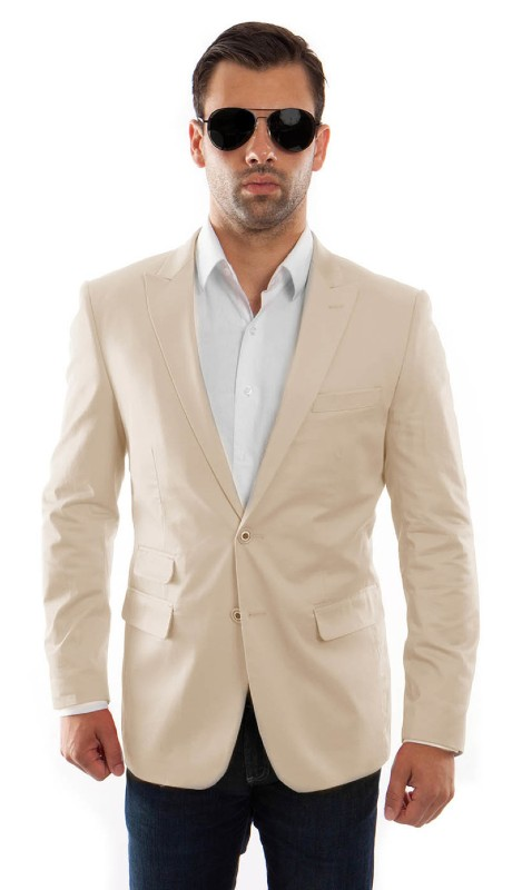 MJ217S-01 ( 1pc Mens Two Button Peak Lapel Slim Fit Solid Jacket With One Chest Pocket )