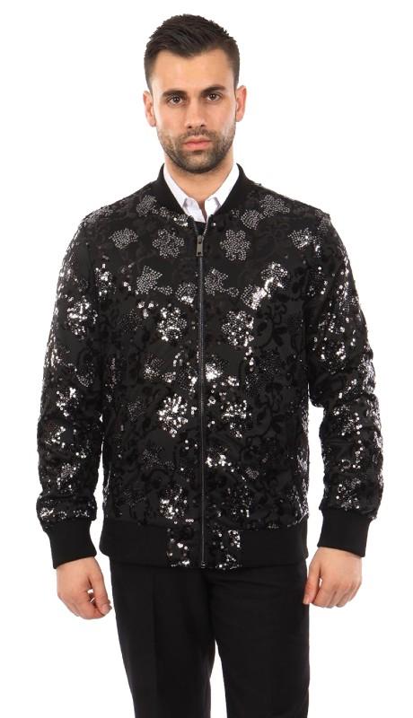 MJ234-01 ( 1pc Round Neck Sequin Jacket )