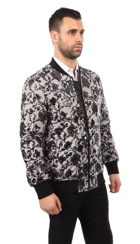 MJ234-03 ( 1pc Round Neck Sequin Jacket )