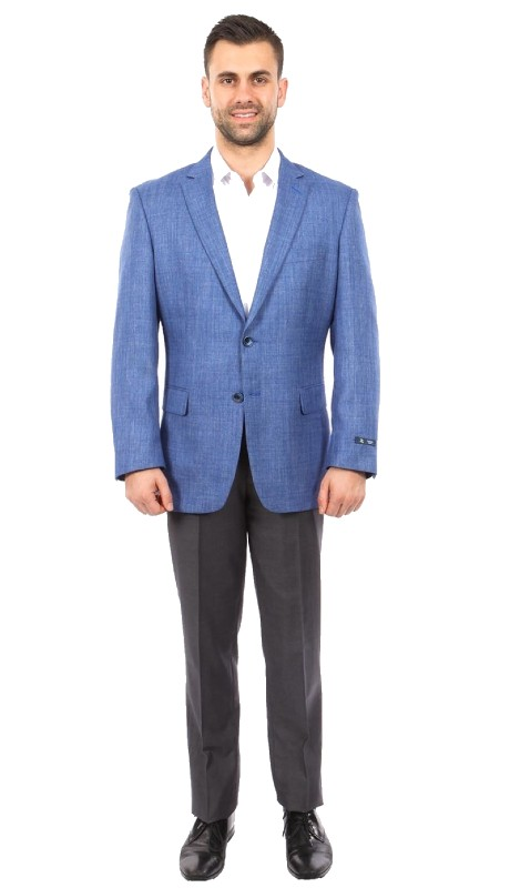 MJ237-01 ( 1pc Mens Two Button Notch Lapel Modern Fit Solid Jacket With Two Front Pocket )