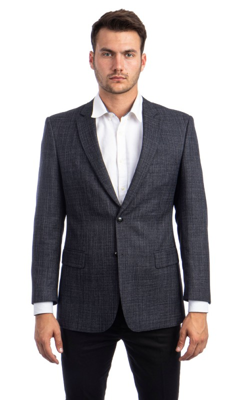 MJ237-02 ( 1pc Mens Two Button Notch Lapel Modern Fit Solid Jacket With Two Front Pocket )