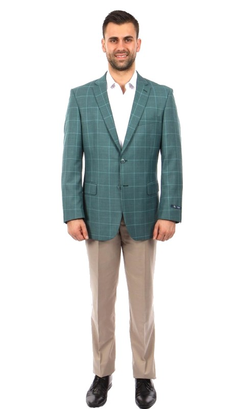 MJ242-01 ( 1pc Mens Two Button Notch Lapel Modern Fit Plaid Jacket With One Chest Pocket )