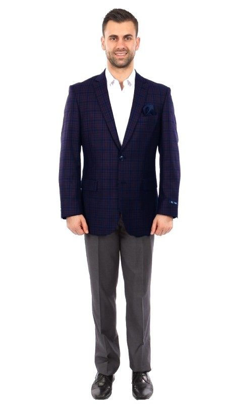 MJ243-01 ( 1pc Mens Two Button Notch Lapel Modern Fit Windowpane Jacket With One Chest Pocket )