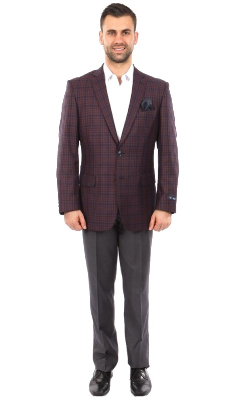 MJ243-02 ( 1pc Mens Two Button Notch Lapel Modern Fit Windowpane Jacket With One Chest Pocket )