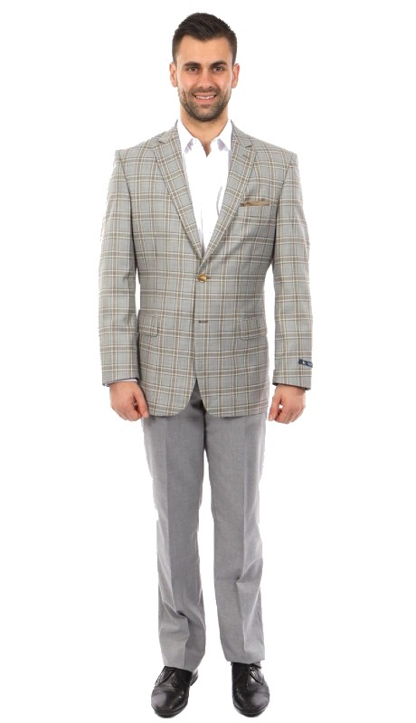 MJ248-02 ( 1pc Mens Two Button Notch Lapel Modern Fit Plaid Jacket With One Chest Pocket )