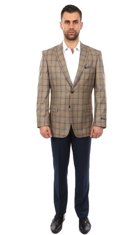 MJ248-03 ( 1pc Mens Two Button Notch Lapel Modern Fit Plaid Jacket With One Chest Pocket )