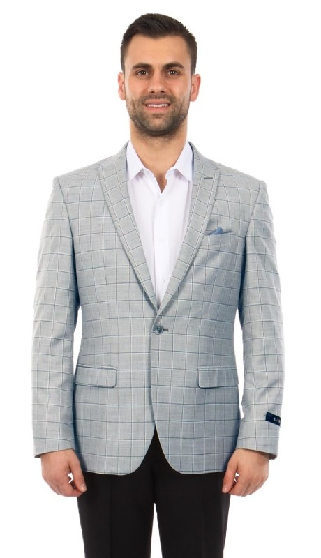 MJ254-01 ( 1pc Mens One Button Peak Lapel Slim Fit Windowpane Jacket With One Chest Pocket )