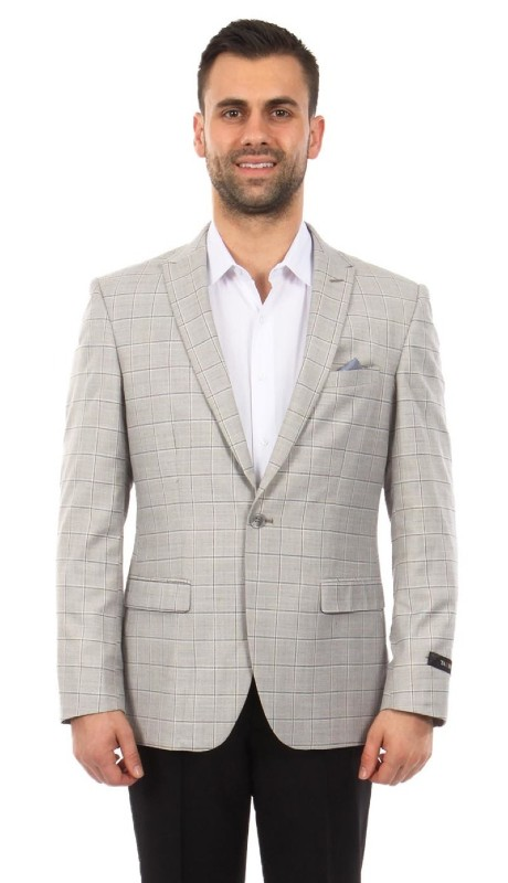MJ254-02 ( 1pc Mens One Button Peak Lapel Slim Fit Windowpane Jacket With One Chest Pocket )