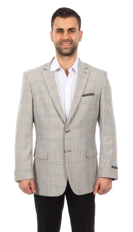 MJ255-02 ( 1pc Mens Two Button Notch Lapel Modern Fit Plaid Jacket With One Chest Pocket )