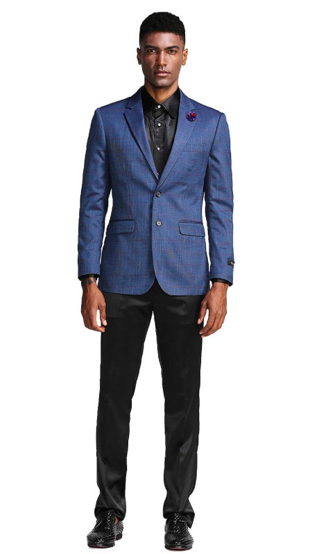 MJ283-02 ( 1pc Mens Two Button Notch Lapel Slim Fit Windowpane Jacket With One Chest Pocket )