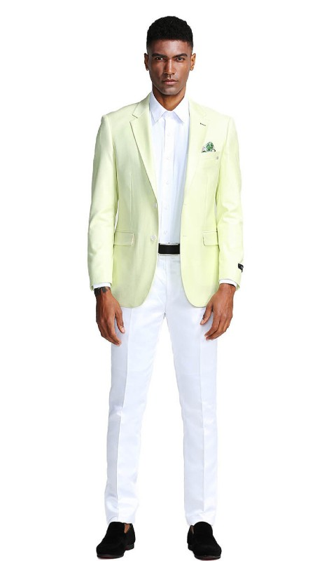 MJ284-01 ( 1pc Mens Two Button Notch Lapel Slim Fit Solid Jacket With One Chest Pocket )