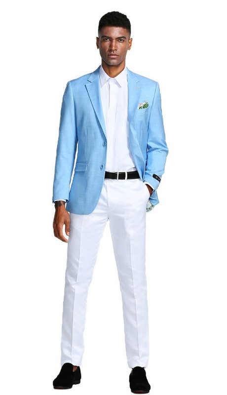 MJ284-03 ( 1pc Mens Two Button Notch Lapel Slim Fit Solid Jacket With One Chest Pocket )