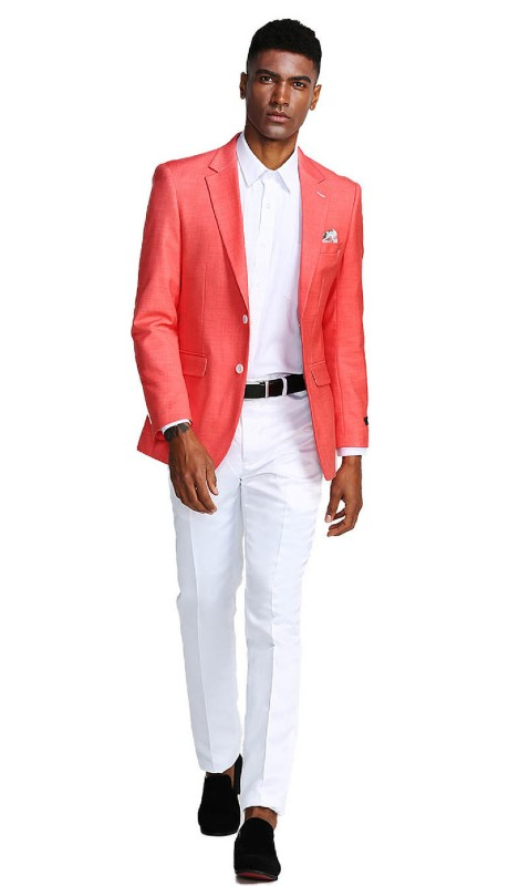 MJ284-05 ( 1pc Mens Two Button Notch Lapel Slim Fit Solid Jacket With One Chest Pocket )