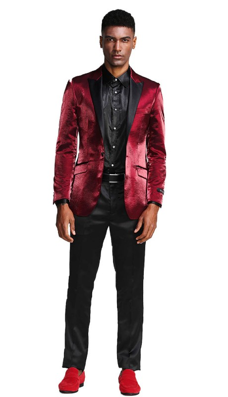 MJ286S-01 ( 1pc Mens One Button Satin Peak Lapel Slim Fit Solid Shine Jacket With One Chest Pocket )