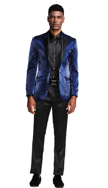 MJ286S-02 ( 1pc Mens One Button Satin Peak Lapel Solid Shine Jacket With One Chest Pocket )