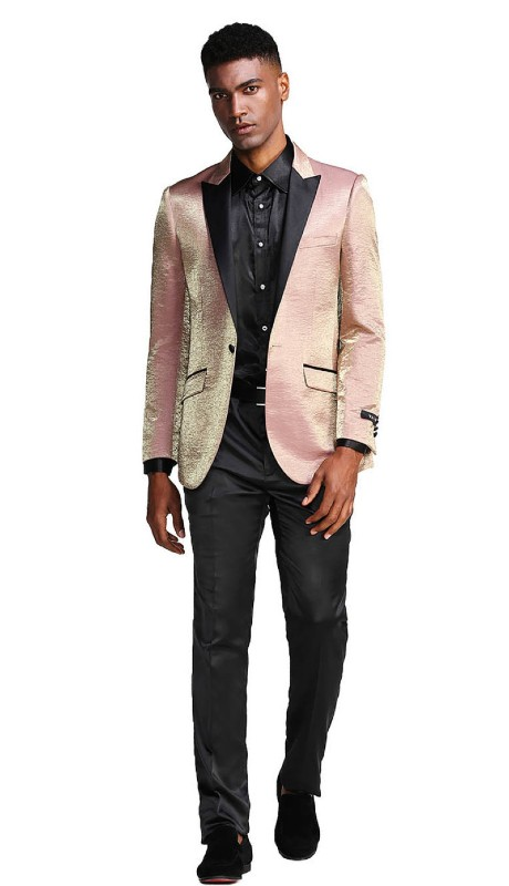 MJ286S-03 ( 1pc Mens One Button Satin Peak Lapel Solid Shine Jacket With One Chest Pocket )