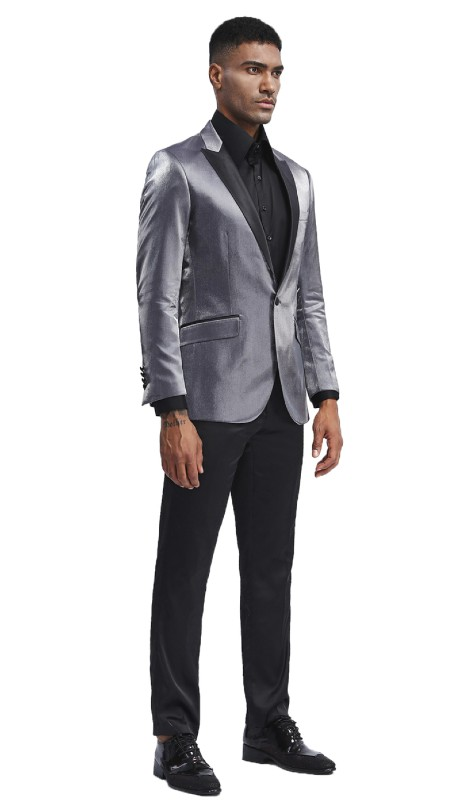 MJ286S-04 ( 1pc Mens One Button Satin Peak Lapel Solid Shine Jacket With One Chest Pocket )