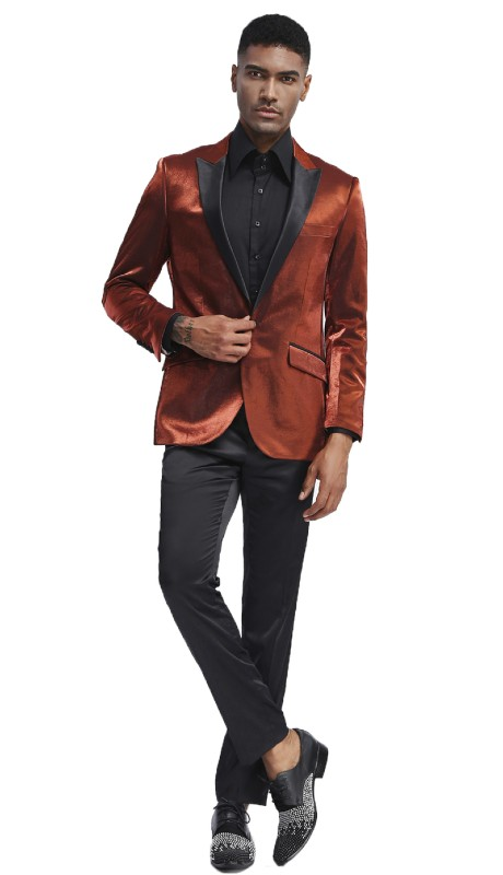MJ286S-05 ( 1pc Mens One Button Satin Peak Lapel Solid Shine Jacket With One Chest Pocket )