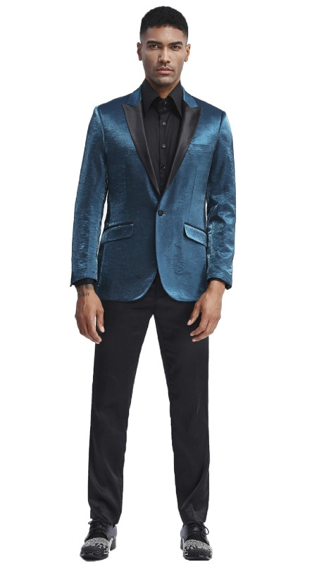 MJ286S-06 ( 1pc Mens One Button Satin Peak Lapel Solid Shine Jacket With One Chest Pocket )