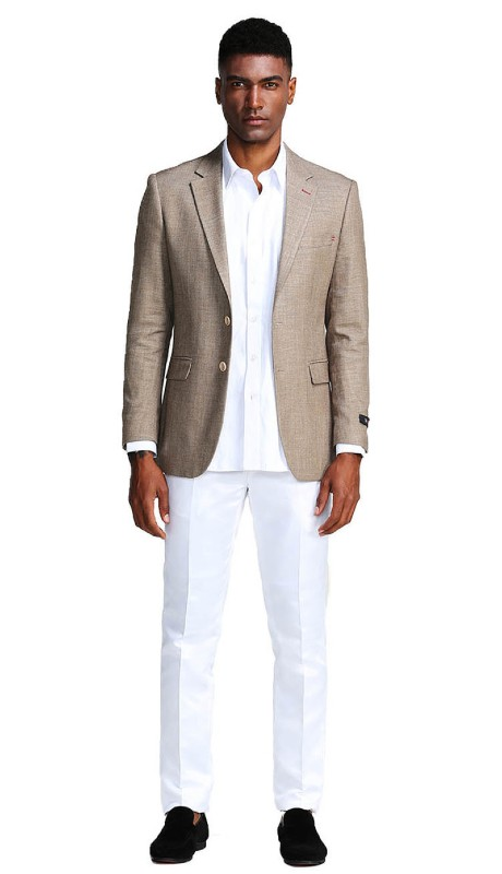 MJ288S-01 ( 1pc Mens Two Button Notch Lapel Solid Jacket With One Chest Pocket )