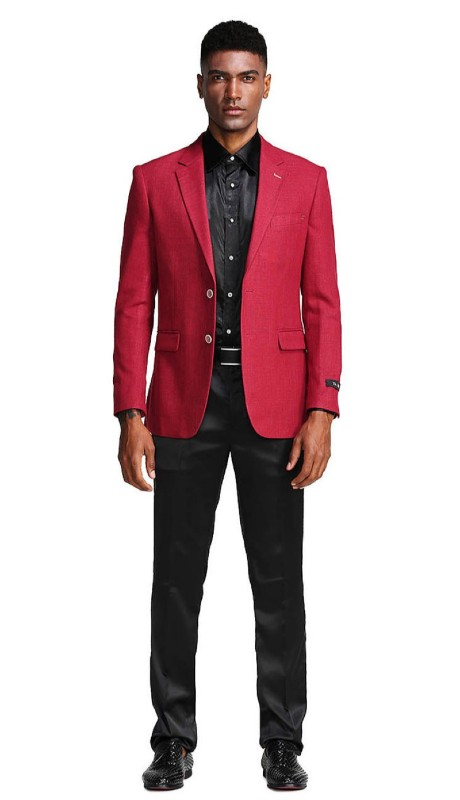 MJ288S-02 ( 1pc Mens Two Button Notch Lapel Slim Fit Solid Jacket With One Chest Pocket )