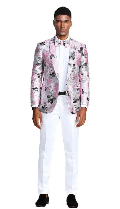 MJ289S-01 ( 1pc Mens One Button Shawl Collar Floral Pattern Jacket With One Chest Pocket )