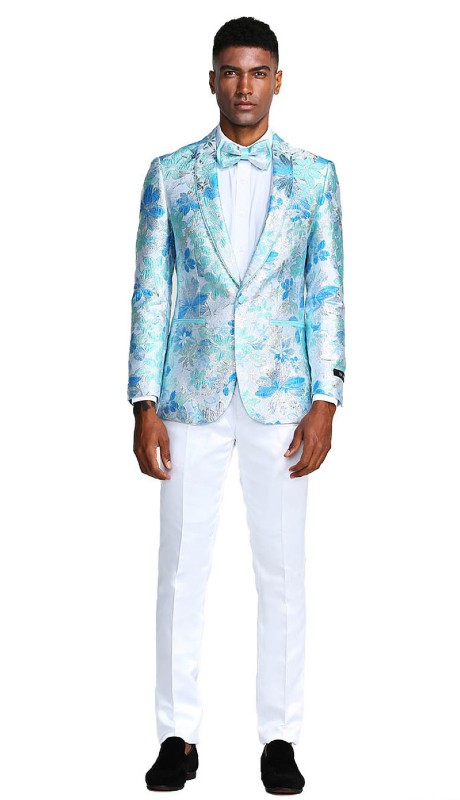 MJ289S-02 ( 1pc Mens One Button Shawl Collar Floral Pattern Jacket With One Chest Pocket )