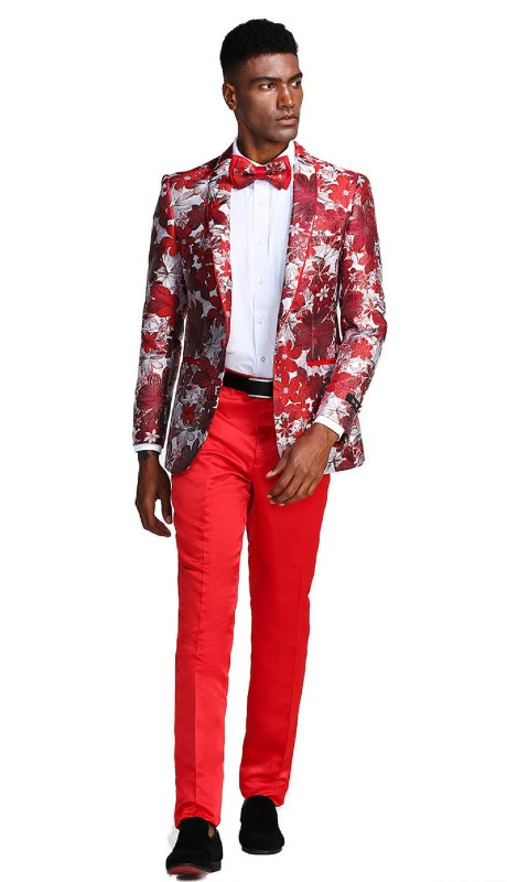 MJ289S-03 ( 1pc Mens One Button Shawl Collar Floral Pattern Jacket With One Chest Pocket )
