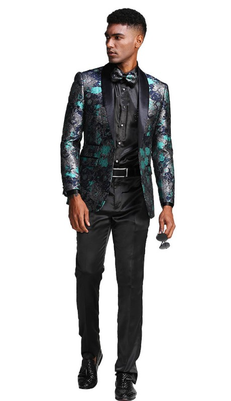 MJ290S-01 ( 1pc Mens One Button Satin Shawl Collar Floral Pattern Jacket With One Chest Pocket )