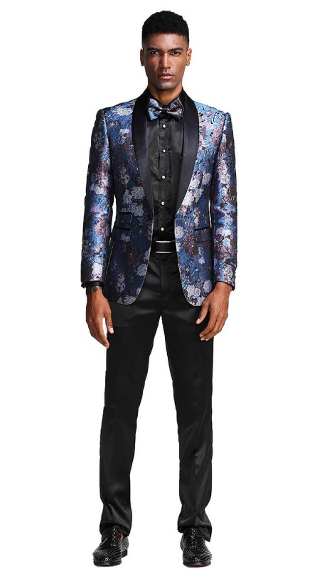 MJ290S-02 ( 1pc Mens One Button Satin Shawl Collar Slim Fit Floral Pattern Jacket With One Chest Pocket )