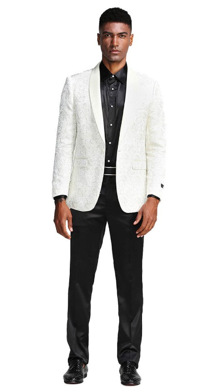 MJ291S-01 ( 1pc Mens One Button Satin Shawl Collar slim Fit Paisley Pattern Jacket With One Chest Pocket )