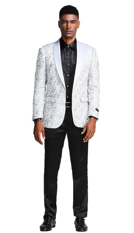 MJ291S-03 ( 1pc Mens One Button Satin Shawl Collar Paisley Pattern Jacket With One Chest Pocket )