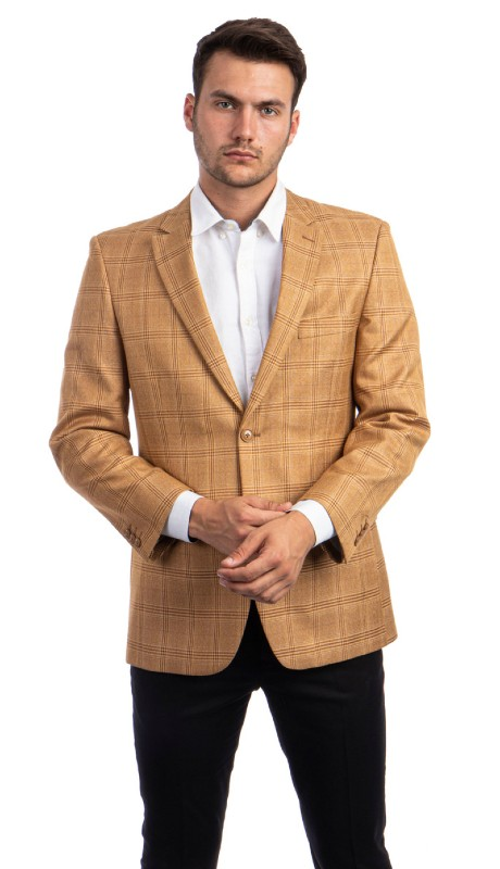 MJ292S-01 ( 1pc Mens Two Button Notch Lapel Modern Fit Checker Plaid Jacket With One Chest Pocket )