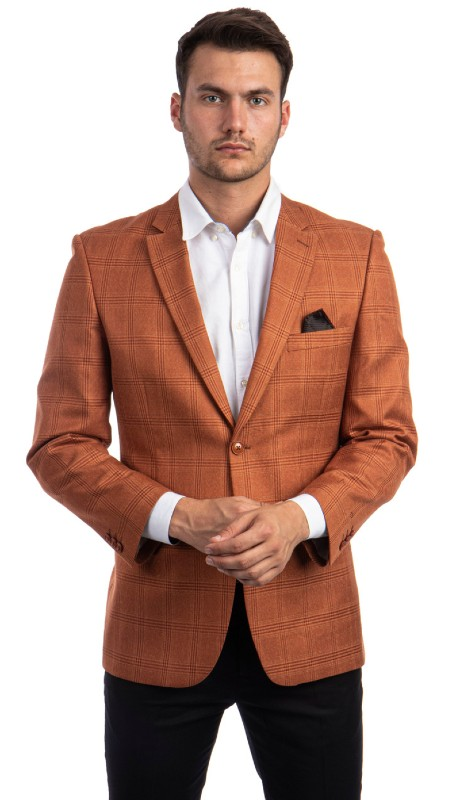 MJ292S-02 ( 1pc Mens Two Button Notch Lapel Modern Fit Checker Plaid Jacket With One Chest Pocket )