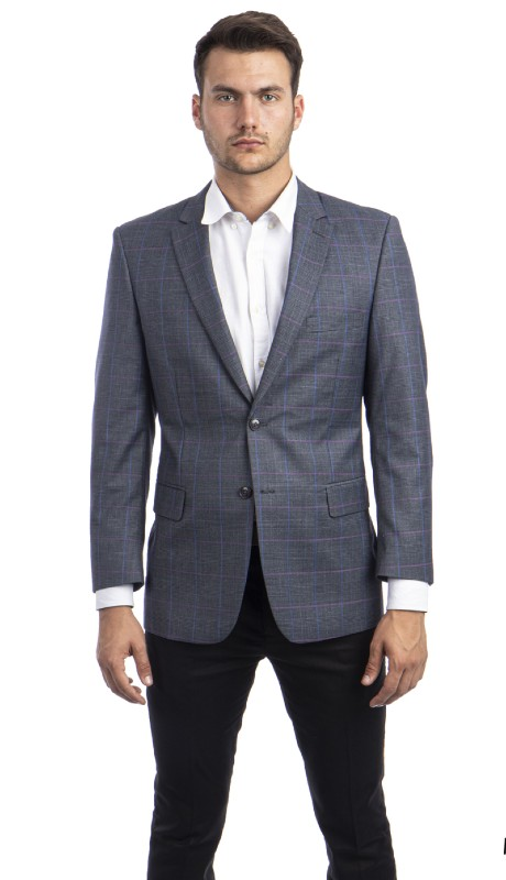 MJ293S-01 ( 1pc Mens Two Button Notch Lapel Modern Fit Glen Plaid Jacket With One Chest Pocket )