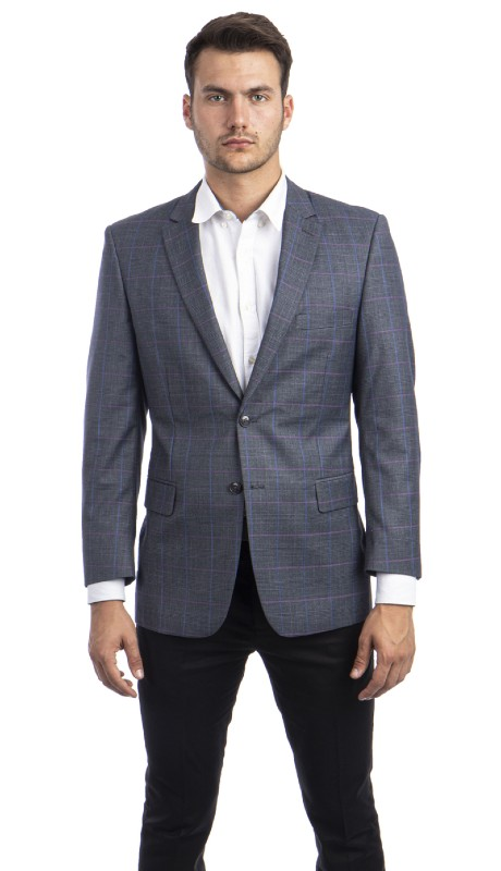 MJ293S-02 ( 1pc Mens Two Button Notch Lapel Modern Fit Glen Plaid Jacket With One Chest Pocket )