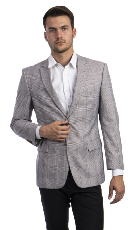 MJ294S-01 ( 1pc Mens Two Button Notch Lapel Modern Fit Glen Plaid Jacket With One Chest Pocket )