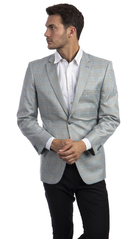 MJ296S-01 ( 1pc Mens Two Button Notch Lapel Modern Fit Glen Plaid Jacket With One Chest Pocket )