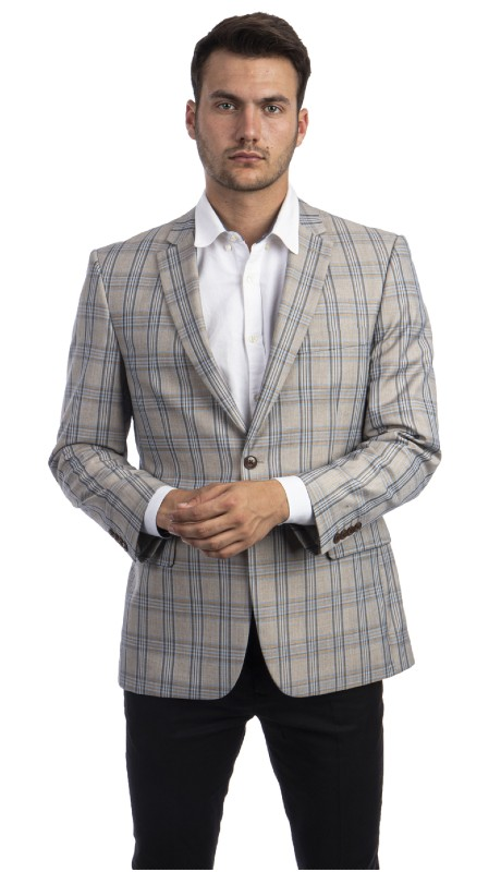 MJ297S-01 ( 1pc Mens Two Button Notch Lapel Modern Fit Glen Plaid Jacket With One Chest Pocket And Two Front Pocket )