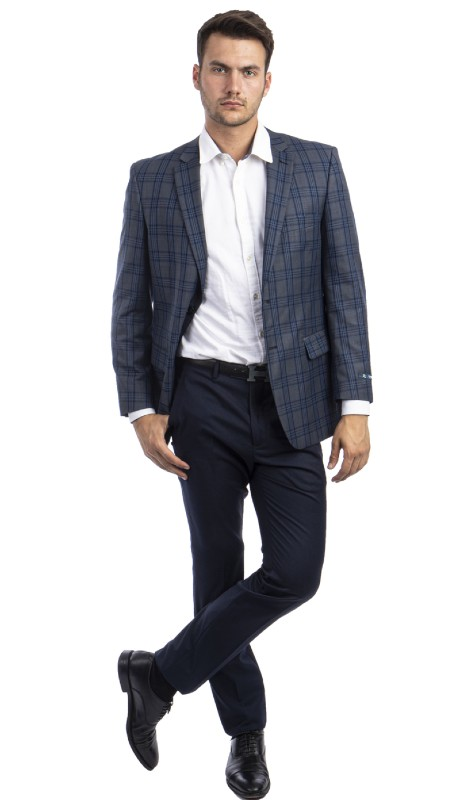 MJ297S-02 ( 1pc Mens Two Button Notch Lapel Modern Fit Glen Plaid Jacket With One Chest Pocket And Two Front Pocket )
