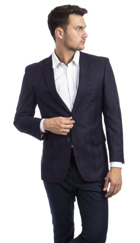 MJ297S-03 ( 1pc Mens Two Button Notch Lapel Modern Fit Glen Plaid Jacket With One Chest Pocket And Two Front Pocket )