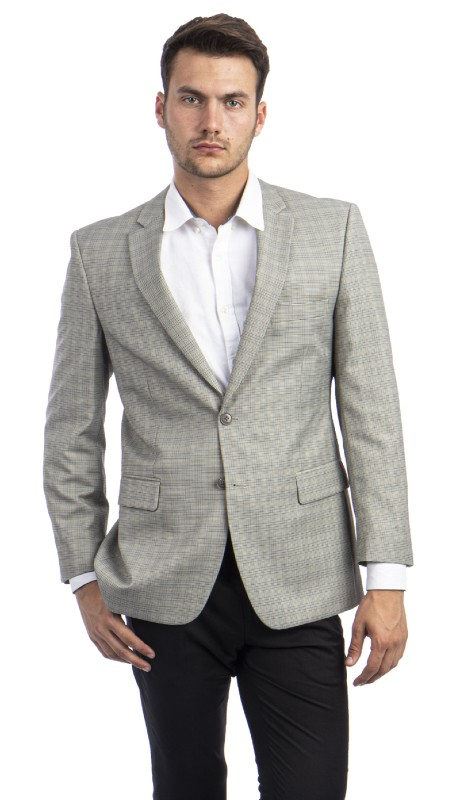 MJ298S-01 ( 1pc Mens Two Button Notch Lapel Modern Fit Windowpane Jacket With One Chest Pocket And Two Front Pocket )